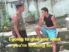 Diego Velasco offers Juan Pena to taste his stiff cock.