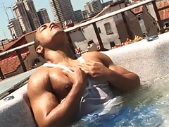 Ivan is the charming black guy with muscles, who`ll be joining us on the rooftop for his first photoshoot. It starts with this black hunk posing and playfully stripping down his pants to show us his cute ass, then settles in front of the camera to masturb