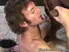 You get an awesome interracial gay handjob where white boy does all he can to service his black master.