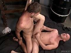 Their cocks are nice and hard when Sean finally arrives and he is fully clothed which pisses both Trey and Sean off. They Demand he strip down immediately and come suck their cocks.