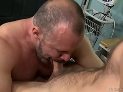 Chandler moans in pleasure and this turns Max on who declares he needs to feel inside and removes his gloves. He fingers Chandler and then starts rimming his ass. Chandler then sucks Max`s big fat cock and then Max sucks Chandler`s large cock.