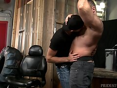Chandler is Brad`s Pup and loves worshiping his big hairy body. Brad loves giving him bear hugs and having him smell and rub on his massive hairy body. Chandler knows that Brad loves having his nipples sucked, so he pays extra attention to that part of Br