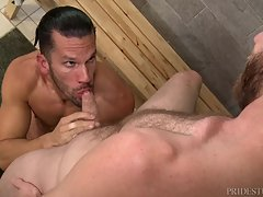 Peter & Marco have met up in the showers and are admiring their big cocks hanging between their legs. Once under the water of the shower they start playing with each other and making their cocks grow even bigger. They share blowjobs under the water and th