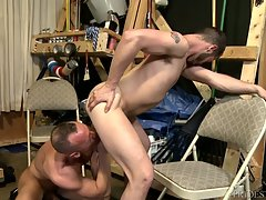 Matt is surprised but wants to try out Asher`s long sexy dick . Matt`s surprised how big it is but gulps it down stroking and pulling on Asher`s fat cock.