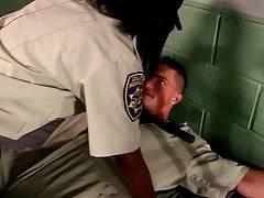 Ebony wardress gives her prisoner a lesson of good behavior.