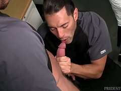 Sean & Alexander slip into the exam room at the Hospital they work at in hopes of finding it empty so they can have sex.  When they find the room empty they slip in, lock the door and get right down to business.  Alexander is a little nervous about gettin